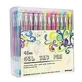 Bolígrafos de Gel, GXR 48 Colores Bolígrafos De Tinta Gel con Purpurina, Metálico, Purpurina, Neón, Tiza de Agua, Juego de Bolígrafos de Gel de Color para Suministros de arte