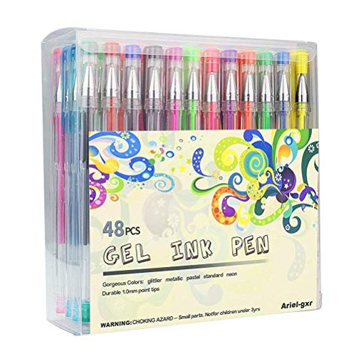 Ariel gxr, set di penne gel, confezione da 48penne gel glitter, non tossico, design ergonomico, inchiostro a lunga durata,metallizzato, glitter, neon, pastello