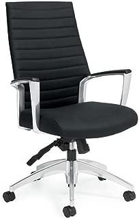 Accord High Back Executive Chair Black Vinyl/Polished Aluminum Frame Dimensions: 25