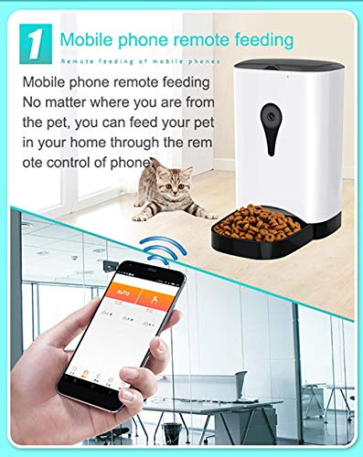 Cat | NAMBM Pet Intelligent Automatic Feeder with WiFi Remote Control with Video Monitors Rechargeable Suitable for Dogs Cats, White, Gym exercise ab workouts - shap2.com