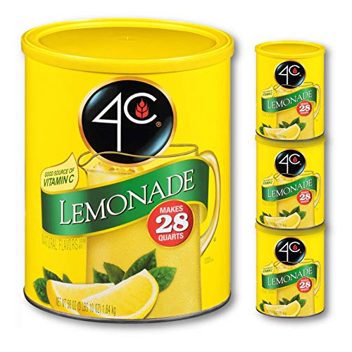 4C Powdered Drink Mix Cannisters | Family Sized Cannister | Thirst Quenching Flavors | 20-28 quarts (Lemonade, 3pk)