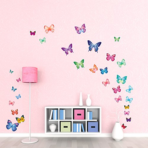 DECOWALL DW-1302 30 Vibrant Butterflies Kids Wall Stickers Wall Decals Peel and Stick Removable Wall Stickers for Kids Nursery Bedroom Living Room décor
