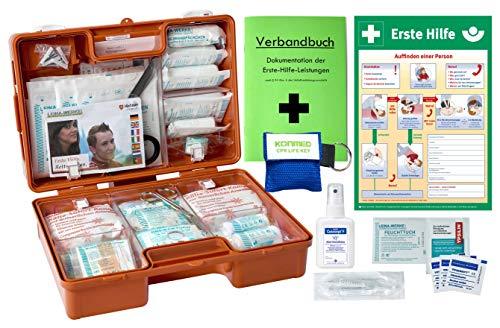 Erste-Hilfe-Koffer M3 PLUS für Betriebe DIN 13157 EN 13157 von WM-Teamsport - incl. Notfall-Beatmungshilfe, Verbandbuch & Hände-Antisept-Spray & Plakat