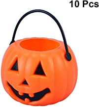 LUOEM 10pcs Halloween Pumpkin Candy Bucket Portable Pumpkin Bucket Children Trick or Treat Bags for Party Favors 3.4 x 2.6...