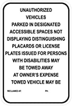 Unauthorized Vehicles Sign, Includes Holes, 3M Quality Reflective, Aluminum, 12