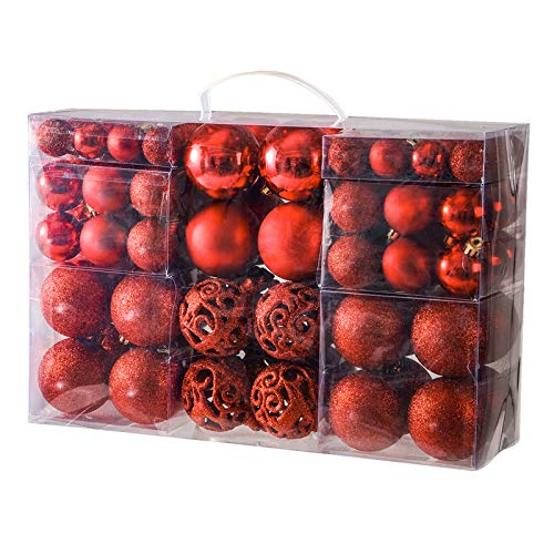 YOBON 100PCS Christmas Ball Ornaments Set, Assorted Shatterproof Christmas Baubles for Christmas Tree, Christmas Tree Hanging Ornaments Decoration with Portable Gift Box Packaging (Red)