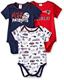 NFL New England Patriots Unisex-Baby 3-Pack Short Sleeve Bodysuits, Blue, 6-12 Months