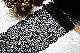 Yulakes 3 yardas de 22 cm, color blanco y negro, tela de encaje para manualidades, accesorios de costura, accesorios de decoración, accesorios para vestidos, elástico, ribete de encaje (negro)