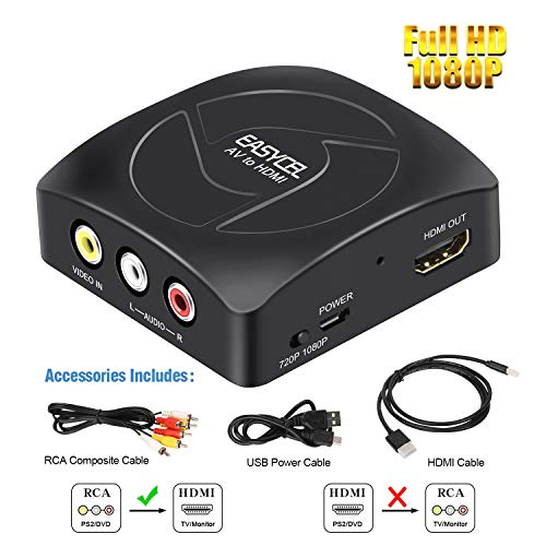 EASYCEL RCA (Composite/CVBS/AV) to HDMI Scaler Converter, RCA (Composite/CVBS/AV) Input to HDMI Output for PS2, N64, Wii, STB, VHS, VCR Camera, DVD(Included HDMI and RCA Cables)
