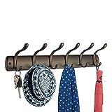 mDesign Perchero para puerta - 6 ganchos – Ideal accesorio para baño o para colgar abrigos y chaquetas – Color: bronce