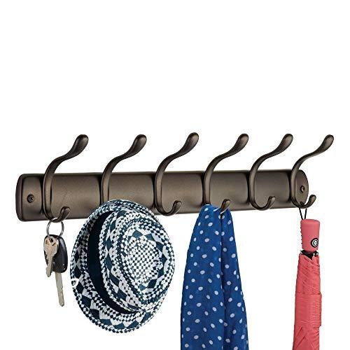 mDesign porte manteau en acier pour le couloir ou la chambre – patère avec 6 crochets – porte manteau mural pour le rangement de manteaux, vestes, écharpes, foulards – couleur : bronze