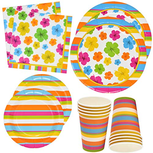 Hawaiian Luau Party Plates and Napkins Includes 24 9' Plates 24 7' Plate 24 9 Oz Cups 50 Luncheon Napkins Paper Supplies Tropical Aloha Decorations for Birthday Hawaii Hibiscus Theme Tableware