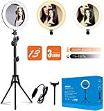 13' 'Ring Light with Tripod Stand and Cell Phone Holder with Dimmable LED Ring Light for Photography and Makeup.Selfie Ring Light with 3 Light Modes Compatible with iPhone/Android. (13 inch)