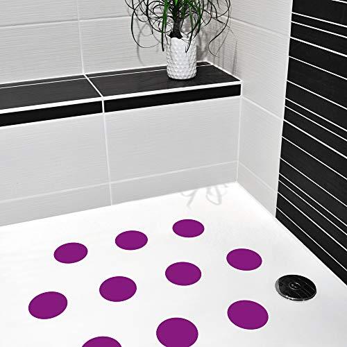 Anti-Rutsch Sticker Premium Couleur für Duschen & Badewannen, farbig, Rutschklasse C DIN 51097, selbstklebend, 10 Stück (lila)