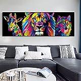 Animali colorati dei cartoni animati Wal Art Poster Leoni astratti Dipinti su tela sul muro Immagine decorativa Arte nordica per la camera dei bambini 60x180 CM (sans cadre)