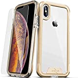 ZIZO ION Series for iPhone Xs Max case Military Grade Drop Tested with Tempered Glass Screen Protector (Gold & Clear)