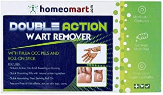 Double Action Wart Remover with Active Thuja OCC Pills & Roll-On. Natural Action, no acids, Freezing, Burning. Effective on Moles & Skin Tags Too