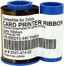 800015-440 YMCKO Color Ribbon for Zebra P330i P420i P430i Card Printers, 200 Prints