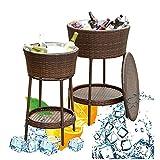 DODOBD Beistelltisch Eisbehälter, Outdoor Rattan Eiskübel, Doppelwand-Isolierung Eiswürfelbehälter, Outdoor Patio Cooler Tisch Für Biere Cocktails Weine Getränke Milch