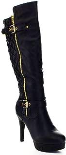 Top Moda Win-6 Women's Quilted Knee-High Stiletto Heel Platform Boots,Black,9