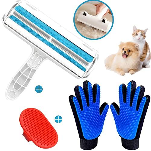 Kafoostore Rodillo removedor de pelo para mascotas, reutilizable, paquete de 3 guantes para mascotas, herramienta de aseo y muebles, removedor de pelusa para mascotas, guantes de goma para mas