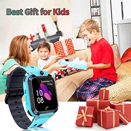 Smartwatch Kinder Uhr Tracker Kinder, TLLAYGM Wasserdicht LBS Smartwatch für Kinder Touchscreen Kids Smart Watch Kinderuhr Mädchen Jungen Kinder Geschenke 3-12 Jahre (Hellblau)