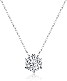 ASYH Swarovski Crystal Solitaire 1.5 Carat (7.5mm) CZ Diamond Dainty Necklace, Jewelry Birthday Gift for Women Girls