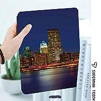 IPad 2/3/4 ケース 超薄型 超軽量 TPU ソフトスマートカバー オートスリープ機能 衝撃吸収 2つ折りスタンドApple iPad 4世代、新iPad 3(3rd Gen)&iPad 2マンハッタン日没のスカイラインニューヨーク都市の景観米国夜景建物高層ビル