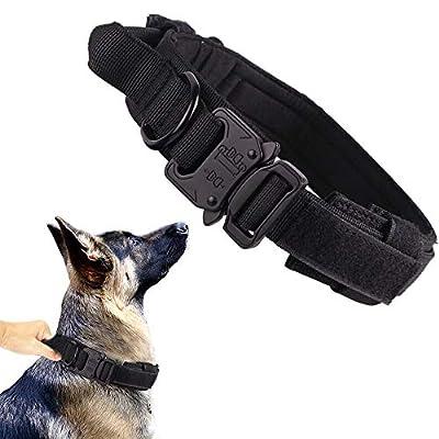 Tactical Dog Collar Military Dog Collar Adjustable Nylon Dog Collar Heavy Duty Metal Buckle with Handle for Dog Training ( Black ,M )