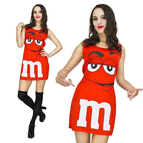 Frauen Red Naughty M Beans Kostüme Adult Female Clever Pralinen Beans Cosplay Kostüm für lustige Partyshows