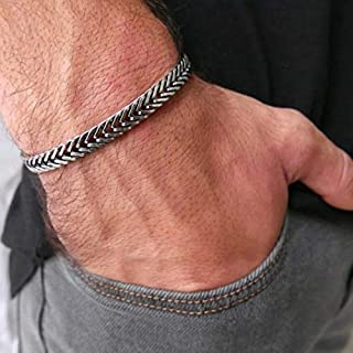 Handmade Cuff Chain Bracelet For Men Made Of Stainless Steel By Galis Jewelry - Silver Bracelet For Men - Cuff bracelet For men - Jewelry For Men - Fits 7