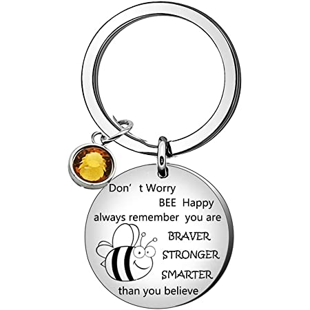 Cute Bee Key Ring Crystal Pendand Keychain Inspirational Keyring for Women Men Gift for Her /& Him Valentines Birthday Gift