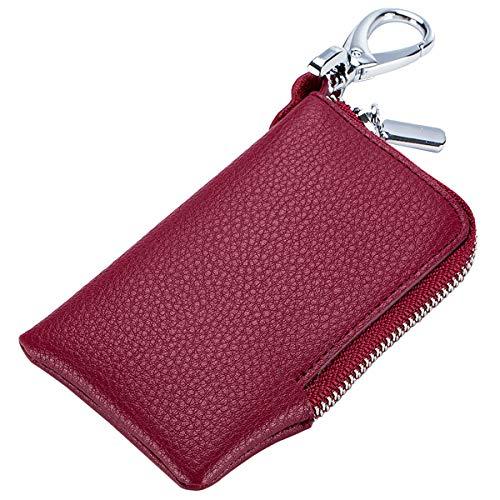 Aileder Schlüsseletui aus weichem Leder, Schlüsselkartenhalter, Tasche, Schlüsselanhänger, Tasche, Auto-Fernbedienung, Schlüsselanhänger, Schutz, Reißverschluss, Münzwechsel-Geldbörse