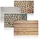 COM-FOUR® 4x Mantel decorativo para mesa, capa inferior en apariencia de madera - posavasos...
