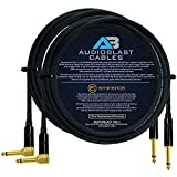 Audioblast - 2 Units - 15 Foot - HQ-1 - Ultra Flexible - Dual Shielded (100%) - Guitar Instrument Effects Pedal Patch Cable w/Eminence Straight & Angled Gold ¼ inch (6.35mm) TS Plugs & Double Boots