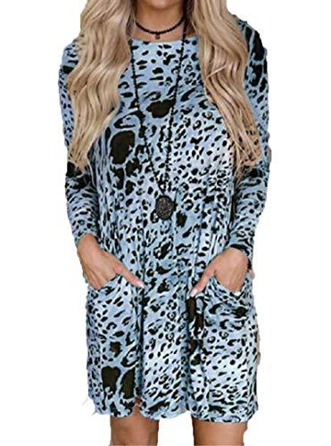SLYZ Vestidos De Mujer, Vestidos Personalizados De Manga Larga, Vestidos De Bolsillo De Moda con Estampado De Leopardo