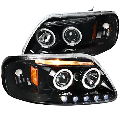 Spec-D Tuning Led Strip Halo Jet Black Projector Headlights for 1997-2003 Ford F150 Head Light Assembly Left + Right Pair