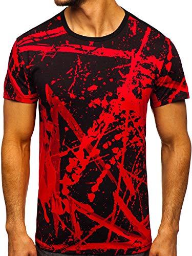 BOLF Herren T-Shirt mit Aufdruck Kurzarm Rundhalsausschnitt Top Figurbetont Kurzarmshirt Tee Rundhals Print Motiv Sportswear Crew Neck Logo Sport J.Style 100788-1 Rot M [3C3]
