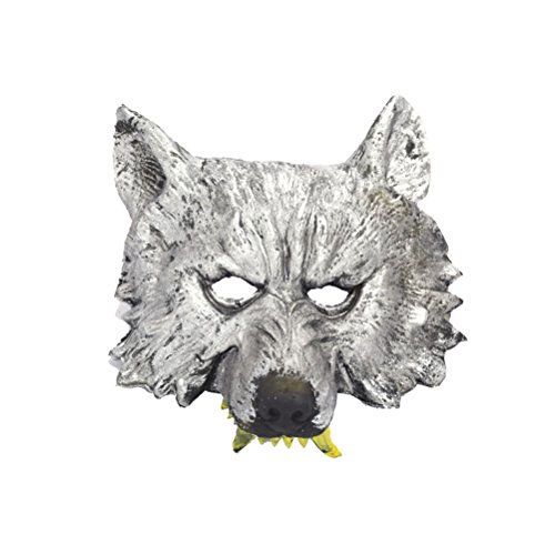 BESTOYARD Animal Head Mask Halloween Wolf Half Face Mask Masquerade Party Halloween Costume Party Props Plastic Masks Cosplay Mask