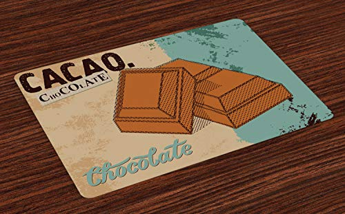 ABAKUHAUS Chocola Placemat Set van 4, Vintage Chocolate Bar, Wasbare Stoffen Placemat voor Eettafel, Cadet Blue Cinnamon