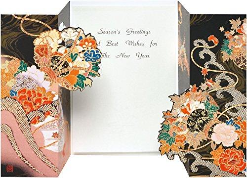『AAP35-1707 和風グリーティングカード/むねかた 金箔 重ね折 「花鼓」(中紙・封筒付) 金箔押し 再生紙』の1枚目の画像