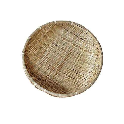 ZZM Cestas de bambú redondas, hechas a mano, cesta de almacenamiento de pan, bandejas de almacenamiento para frutas, verduras, cesta de drenaje, aperitivos, comida, 1 unidad