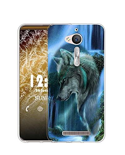 Sunrive Funda Compatible con ASUS Zenfone Go ZB500KL, Silicona Slim Fit Gel Transparente Carcasa Case Bumper de Impactos y Anti-Arañazos Espalda Cover(Q Lobo 3)