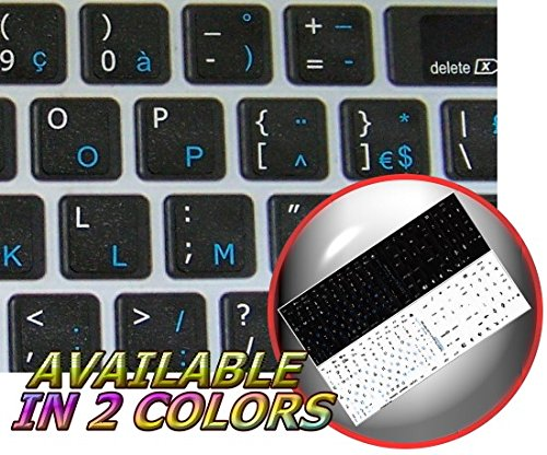 MAC French AZERTY Keyboard Stickers ON Black Background for Desktop, Laptop and Notebook