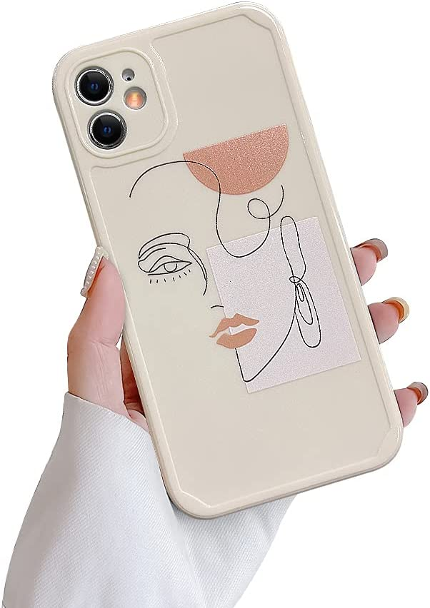 Ownest Compatible with iPhone 11 Case,Cute Abstract Face Earring Pattern Design Vintage Art Line for Women Girls Soft TPU Anti-Scratch Protective Cases for iPhone 11-Earring White