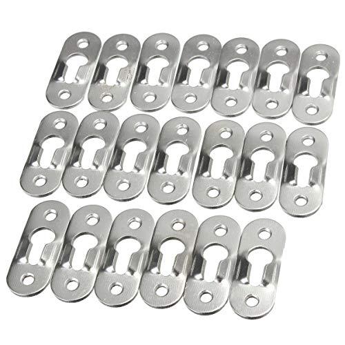 Willlly sleutelgat voor fotolijst spiegelkast opknoping haak plaat Chic zilver 44X16Mm 20 stuks Verkoop Thuis Dagelijks Gebruik Product