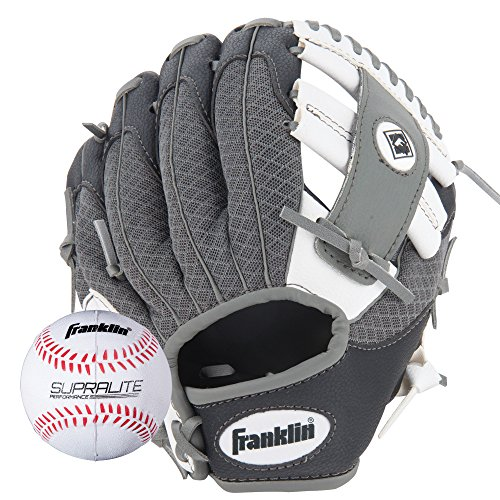 Franklin Sports Teeball Glove - Left and Right Handed Youth Fielding Glove - Synthetic Leather Baseball Glove - Ready To Play Glove (RTP) - 9.5 Inch Right Hand Throw - Black/White/Gray with Ball