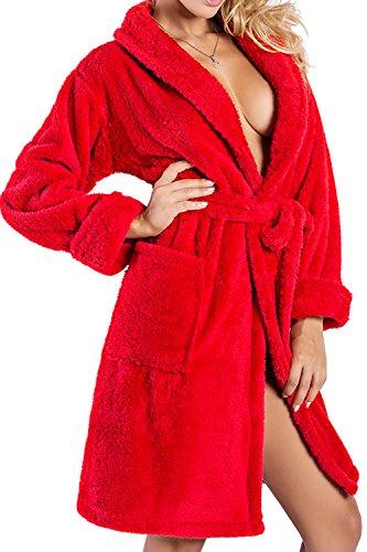 DKaren Damen Bademantel   Eliza   kurz   Größen XS-2XL 100% Polyester   M Rot