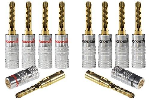 Poppstar 10x High End Hohl Bananenstecker, Bananas für Lautsprecherkabel (bis 6mm²), Lautsprecher, Receiver, 24k vergoldete Kontakte (5X schwarz, 5X rot)