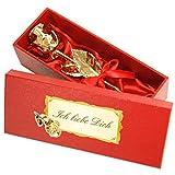 Echte Goldene Rose mit Widmung: Ich liebe dich, überzogen mit 999er GOLD, circa 28 cm, mit...